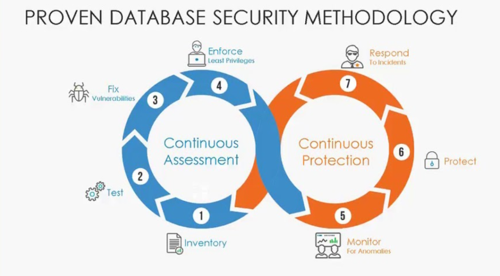 the intertwined security achieved through continuous assessment and continuous protection in databases