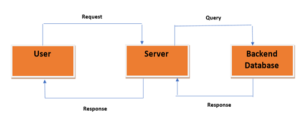 an illustrative image of a server architecture in which the database server is on a different server than the rest of the environment to enhance the security of user data